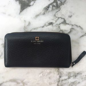 KATE SPADE black leather rectangular wallet